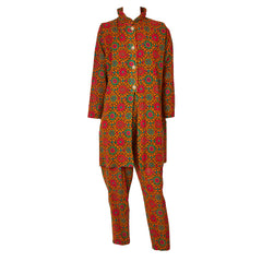 Yves Saint Laurent Wool Challis Patterned Tunic and Pant Ensemble