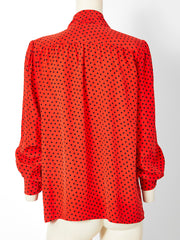 Yves Saint Laurent Silk Polka Dot Lavaliere Blouse
