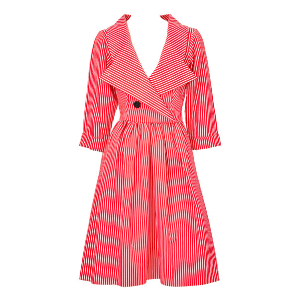 Yves Saint Laurent Rive Gauche Double Breasted Striped Day Dress