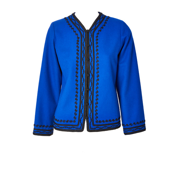 Yves Saint Laurent Rive Gauche Wool Jacket with Passementerie Detail