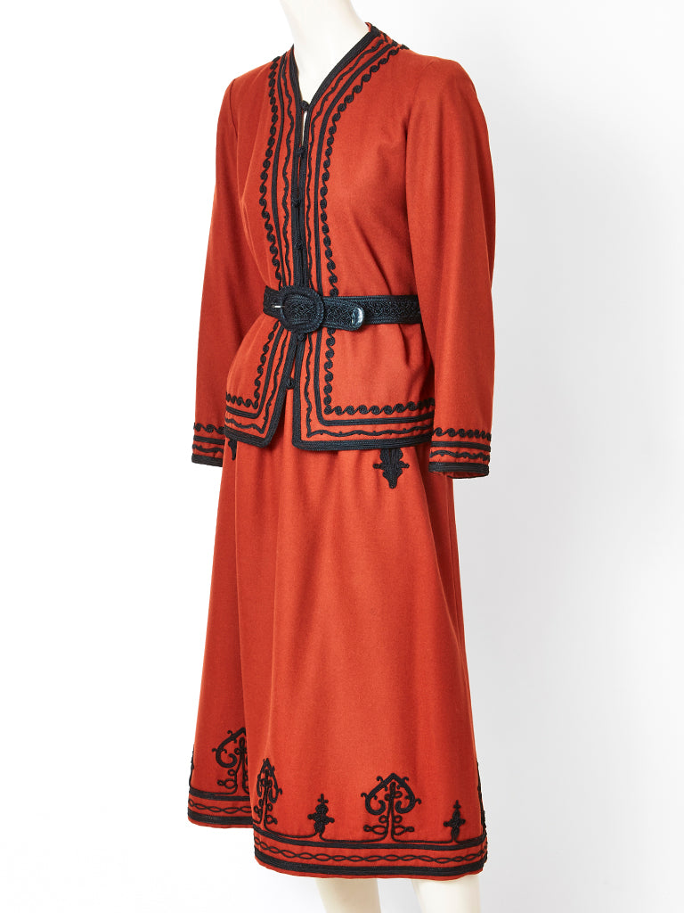 Yves Saint Laurent Rust Tone Wool Russian Collection Ensemble