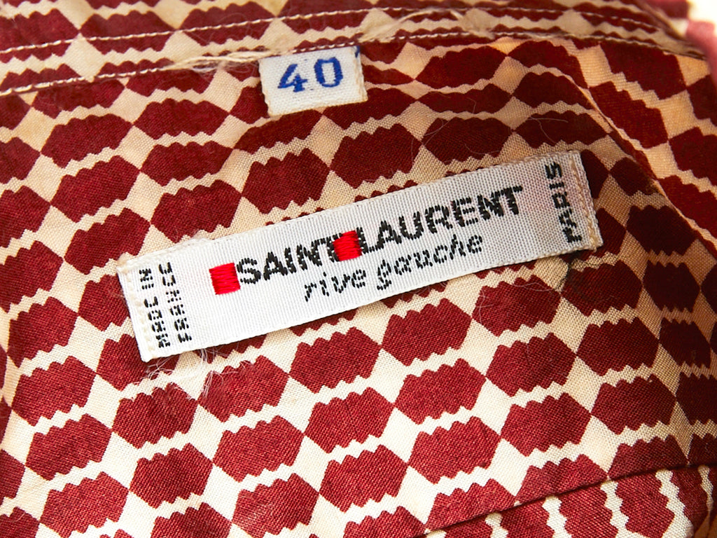 Yves Saint Laurent Geometric Print Cotton Shirt 1970's
