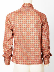 Yves Saint Laurent Cotton Square Pattern Shirt
