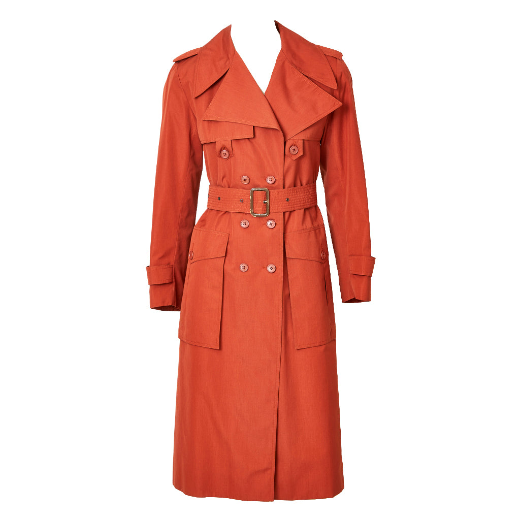 Yves Saint Laurent Double Breasted Belted Trench C. 1970