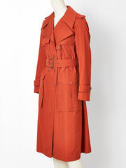 Yves Saint Laurent Double Breasted Belted Trench C. 1970's