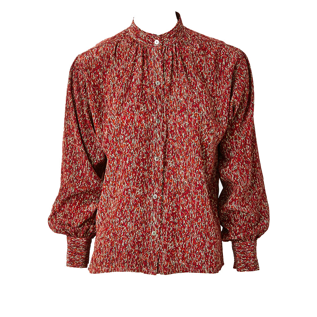 Yves Saint Laurent Silk Mandarin Collar Rust Patterend Blouse