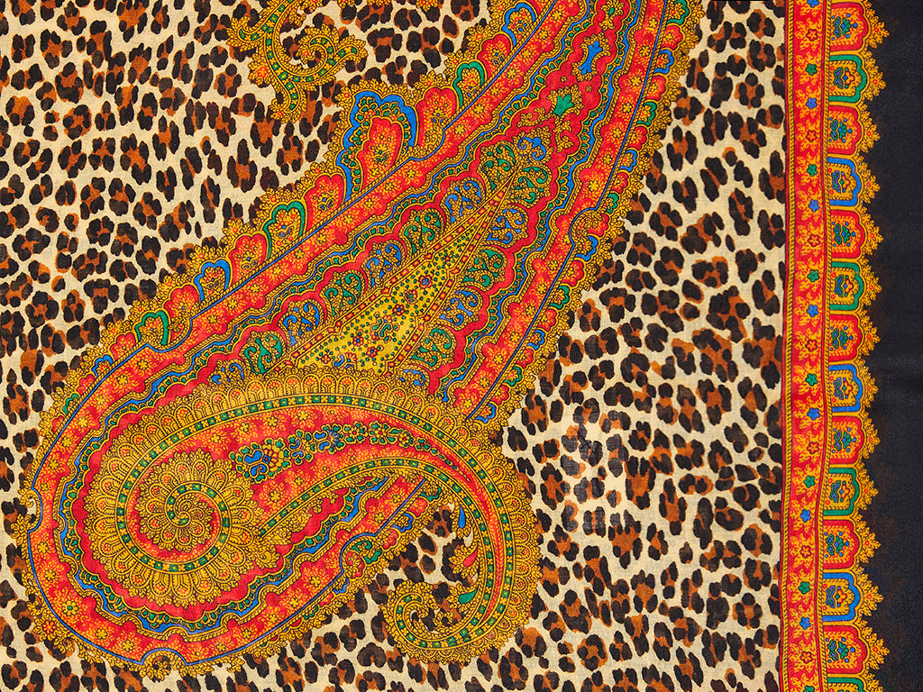 Yves Saint Laurent Rive Gauche Leopard and Paisley Patterned Wool Challis Scarf