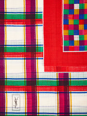 Yves Saint Laurent Wool Challis Muti tone Plaid Scarf