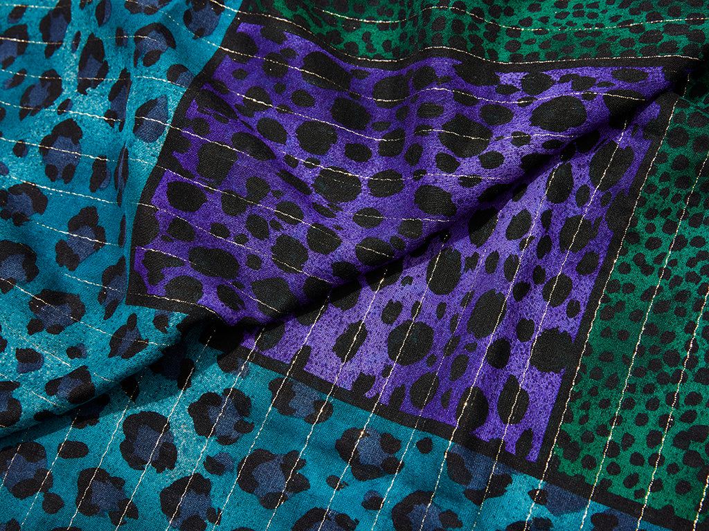 Yves Saint Laurent Jewel Toned Leopard Pattern large Scarf