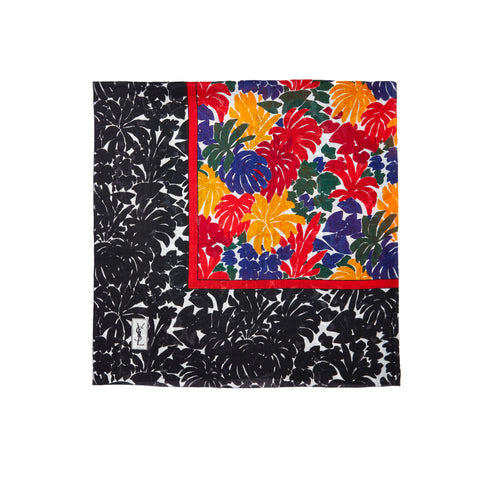 Yves Saint Laurent Patterned Multi Tone Cotton Large Square Scarf