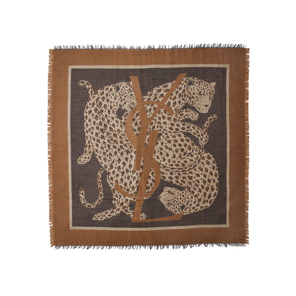 Yves Saint Laurent Twin Leopard Wool Challis Scarf