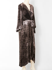 Yves Saint Laurent Panné Velvet Long Wrap Dress