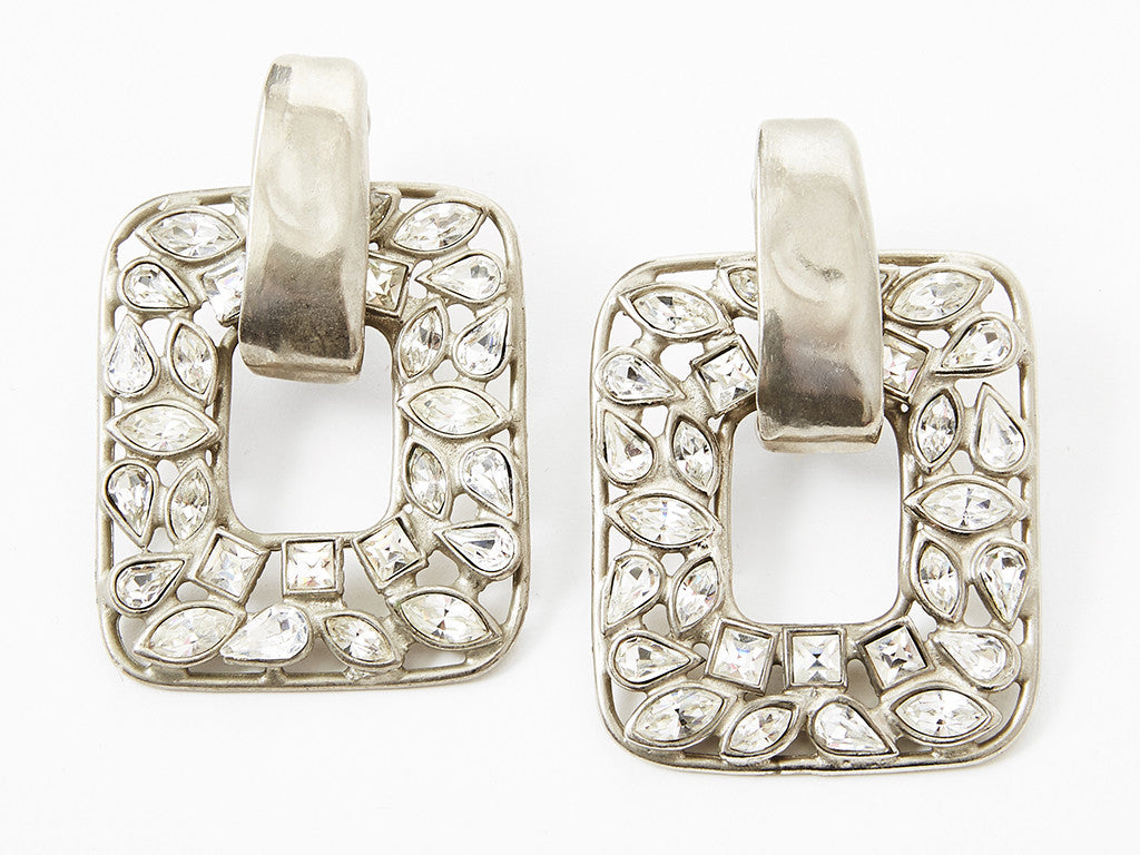 Yves Saint Laurent Rhinestone Clip On Earrings