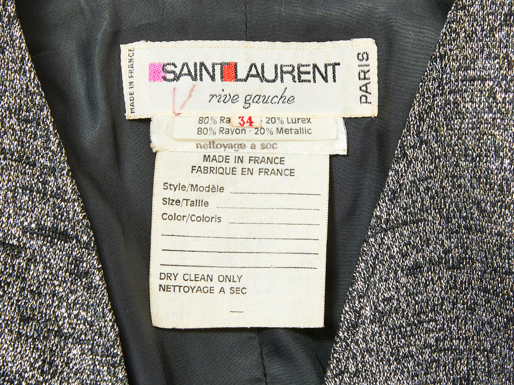 Yves Saint Laurent Rive Gauche Lurex Knit Fitted Cardigan