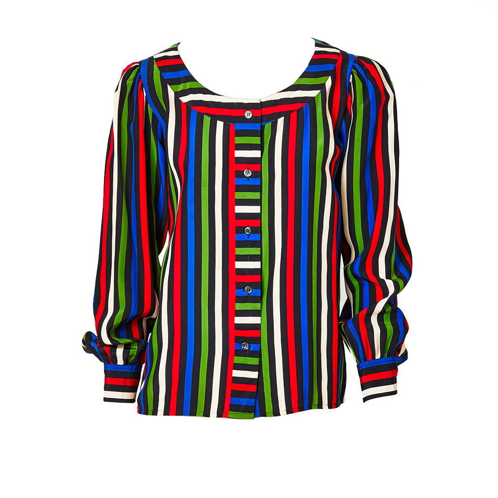 Yves Saint Laurent Multi Tone Stipe Silk Blouse