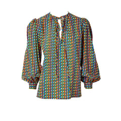 Yves Saint Laurent Patterned Wool Challis Peasant Blouse