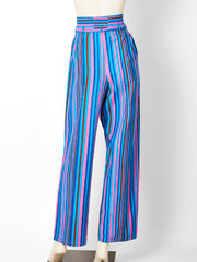 Yves Saint Laurent Rive Gauche High Waist Wide Leg Stripe Pant