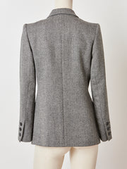 Yves Saint Laurent Tweed Double Breasted Blazer