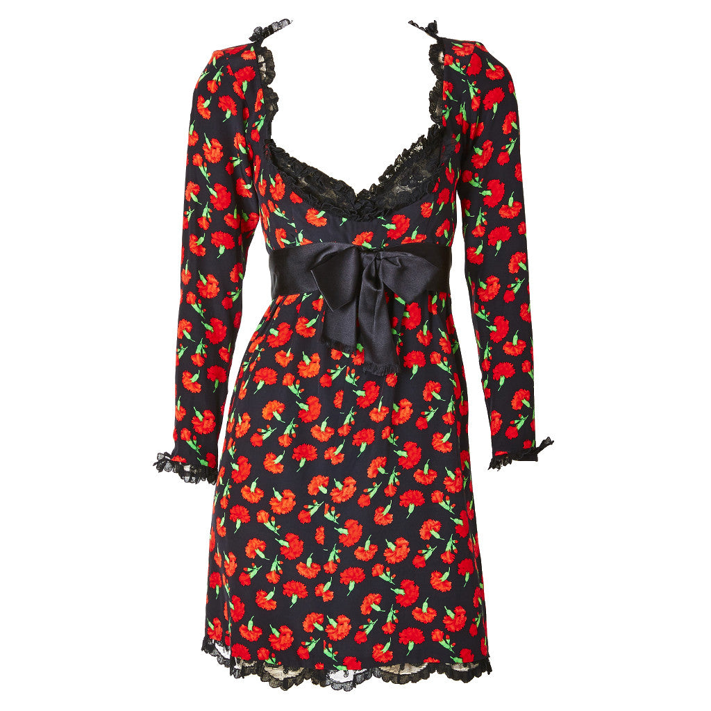 Yves Saint Laurent Silk Carnation Print Dress