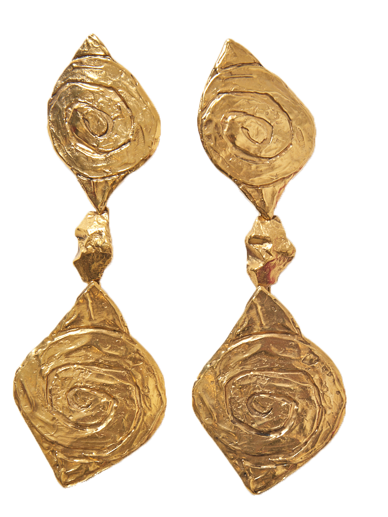 Yves Saint laurent Sculpted Clip On Drop Earrings