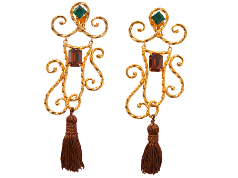 Yves Saint Laurent Clip On Drop Earrings with Tassels