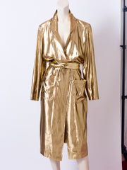 Yves Saint Laurent Gold Lame Belted Coat/Dress