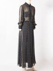 Yves Saint Laurent Graphic Print Chiffon Maxi Dress