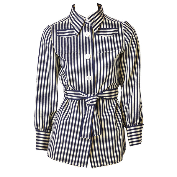 Striped Denim Belted Jacket 1970's
