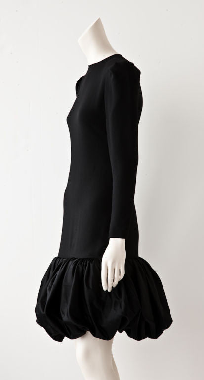 Bill Blass Black Wool Crepe and Taffeta Cocktail Dress