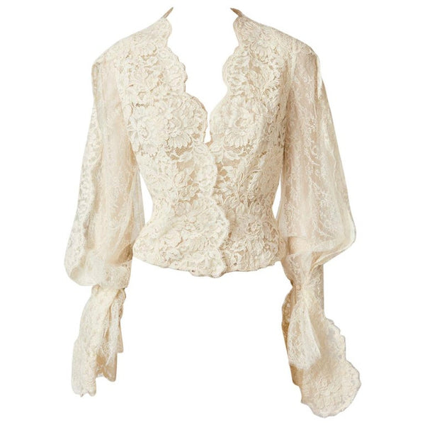 Bill Blass Guipure Lace Blouse