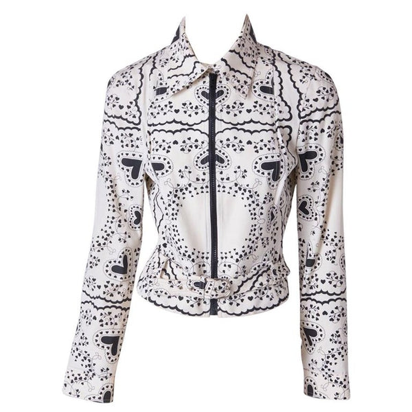 Galliano Black and White Print Moto Jacket