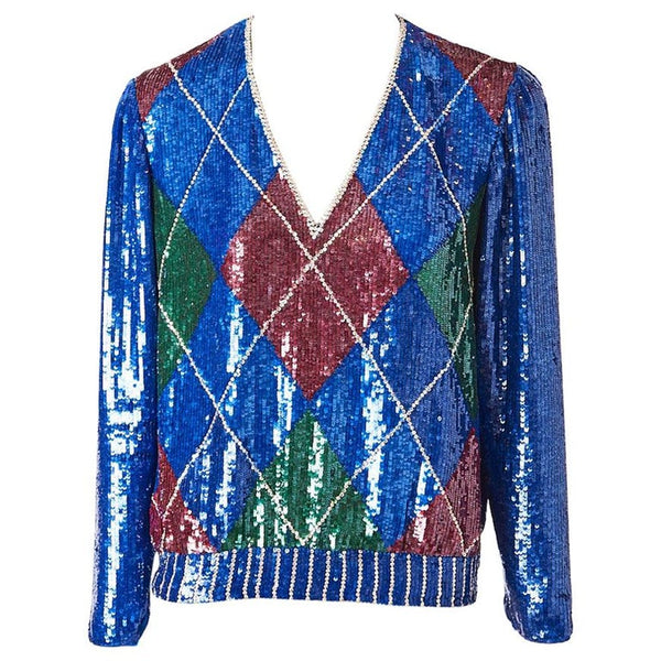 Oscar de la Renta  Argyle Patterned Sequined Top