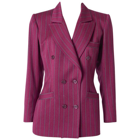 Yves Saint Laurent Rive Gauche Double Breasted Stripe Blazer