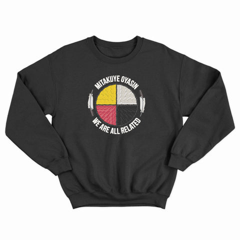 Empower Native Youth -  Mitakuye Oyasin + Akicita Seed Bead Printed Sweatshirt - R.O.S.E. clothing