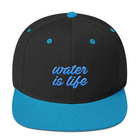 Give Water - Water Is Life Snapback Flat Bill Hat - R.O.S.E. clothing