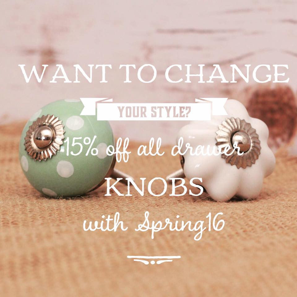 15% off all Drawer Knob until 7th May