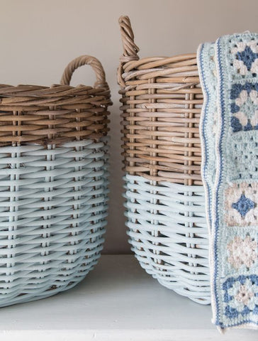 white dipped wicker baskets