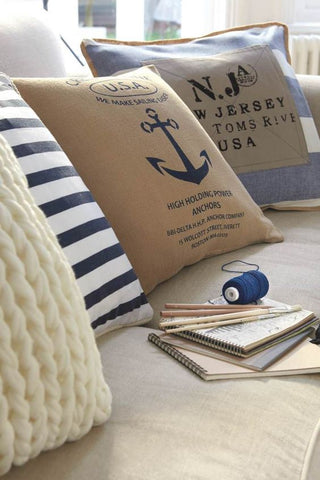 Nautical style cushions, perfect for a coastal chic design