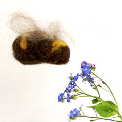 Needle felted bees at The Handmade Fair