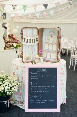 Cute little suitcase used as a table plan case
