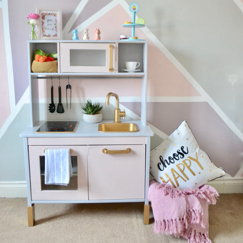 pink, grey and gold play kitchen