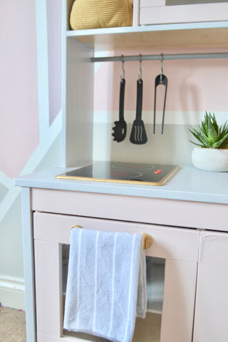 IKEA play kitchen transformed with chalk paint