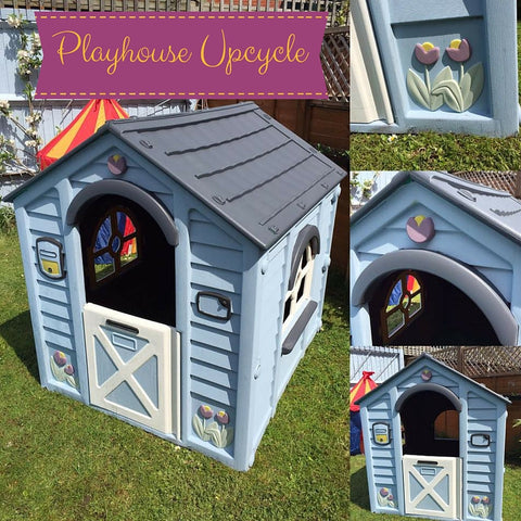 Beach Hut and Coastal Chic inspired updated and painted playhouse