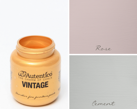 Autentico Paint, Rose, Cement and New Gold used to transform a play kitchen