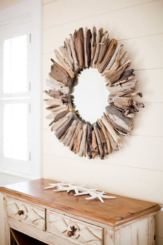 driftwood mirror accents for Coastal Chic styling