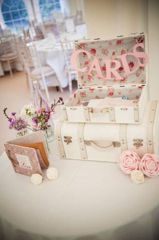 Vintage suitcase with Card bunting, great decoration for vintage weddings