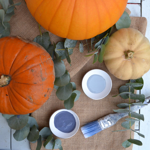 Beautiful blue chalk paint to paint the pumpkins for halloween