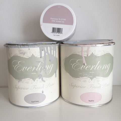 Everlong Paint in Earl Grey and Sophia, Valspar Paint in Violet Ice