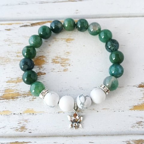 I Am Balanced and At Peace, Moss Agate & White - zakastore