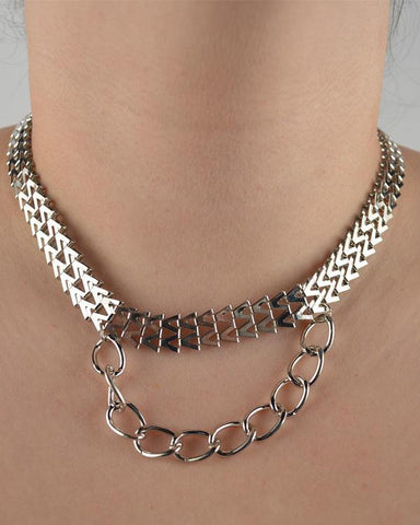 Double V Chain Necklace w/ Curb Chain Strand - zakastore